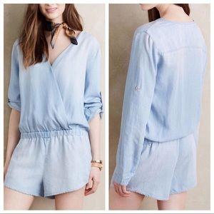 Anthropologie Surplice Chambray Romper